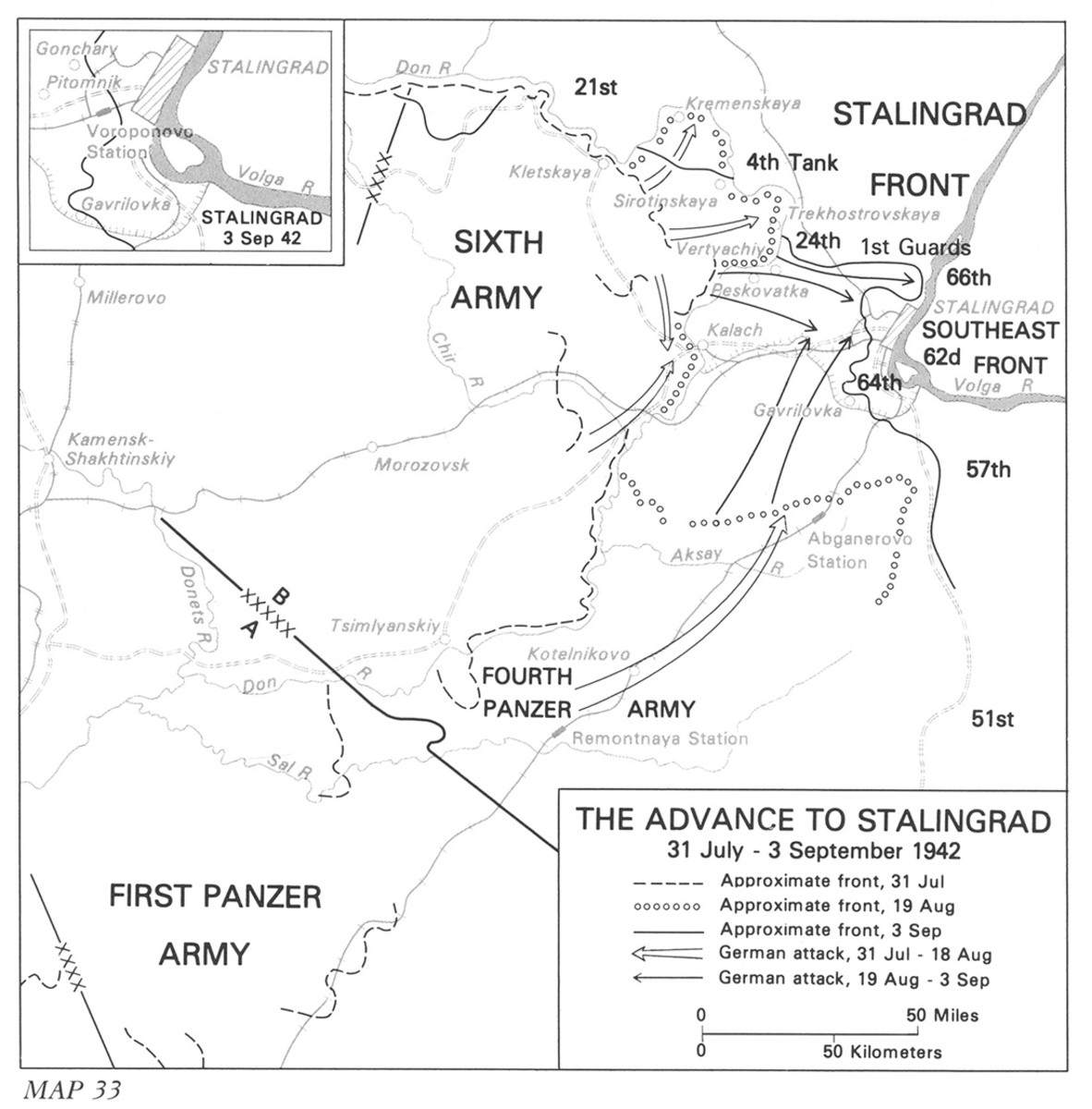 The German advance toward Stalingrad.