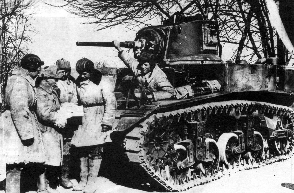 M3 Stuart tank in use at Stalingrad. The Allies provided much needed material support to the Red Army.