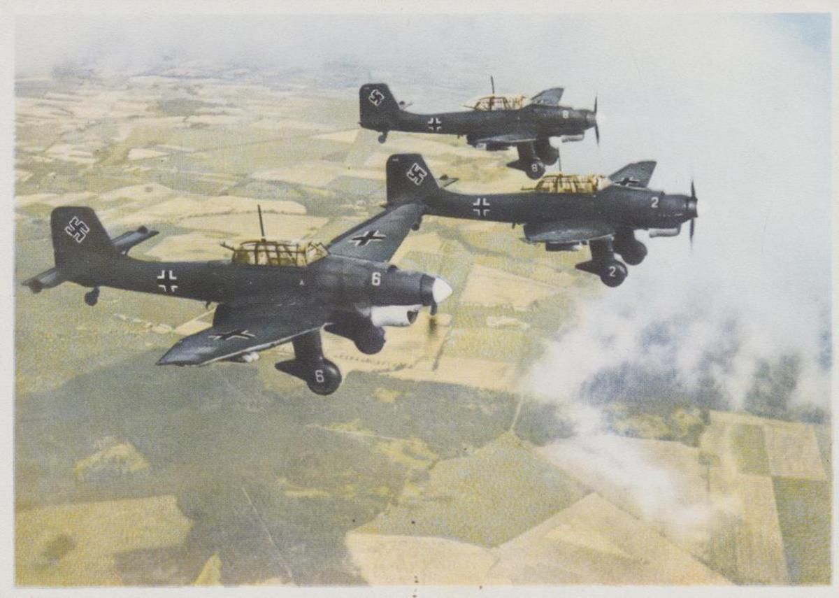 Rare color picture of Stuka dive bombers on the Eastern Front.