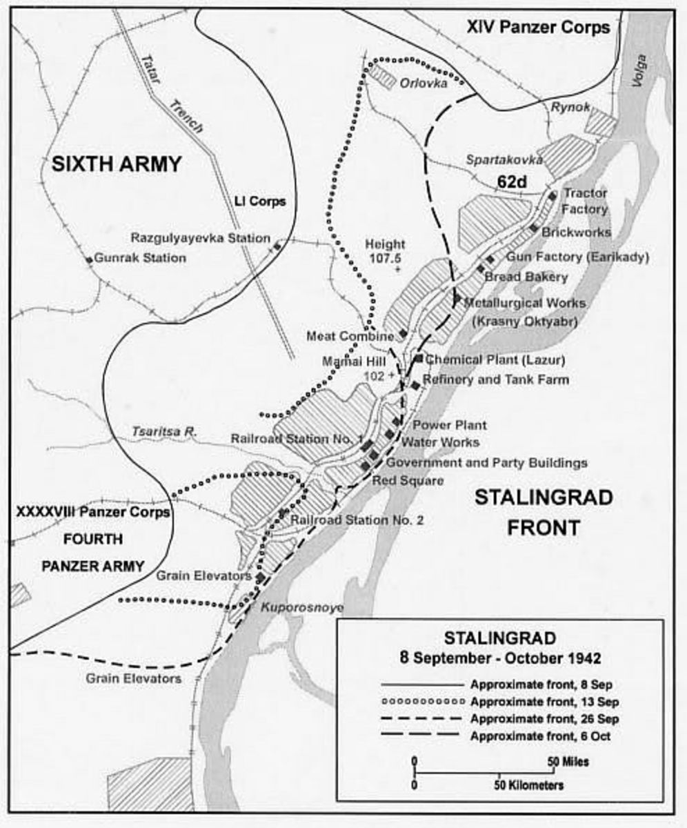 A battle map showing the main defensive positions in Stalingrad.