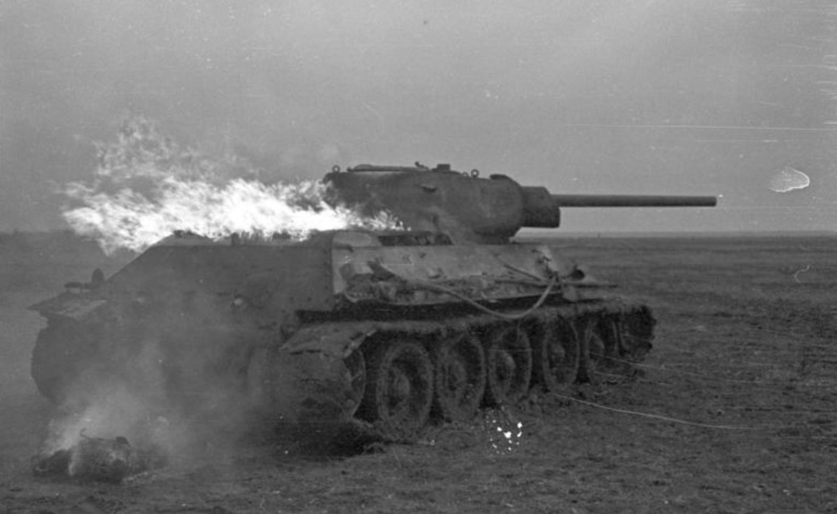 Burning Red Army T-34 Russian Front 1941, at first the Red Army had a limited number of T-34s but by the end of the war they would overwhelm the Wehrmacht.