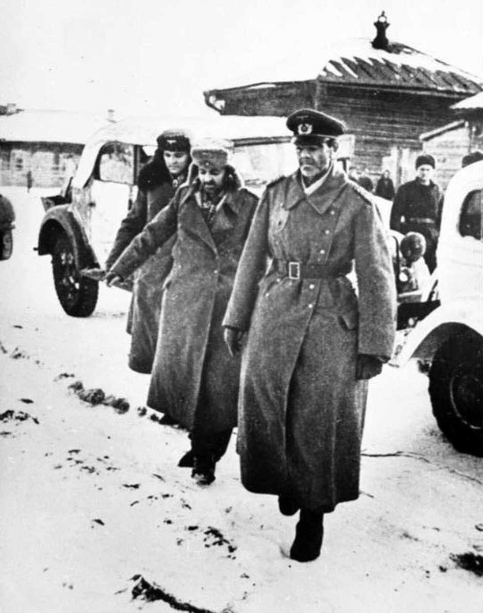 Field Marshal Paulus leaving his headquarters to surrender to the Soviet Army.