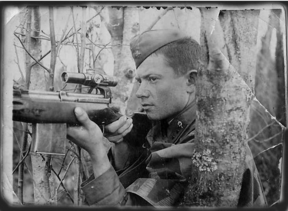 Soviet sniper Sidorenko in his element on the battlefield.