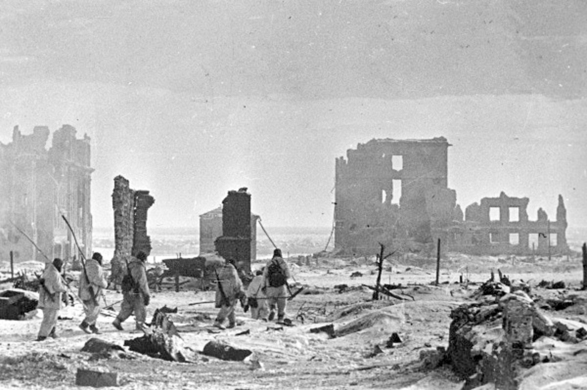 Red Army infantry after the liberation in the center of Stalingrad February 1943.