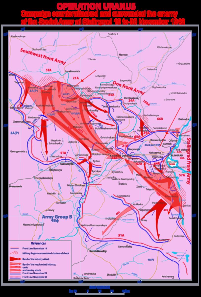 The Red Army counter-attacks and encircles the Sixth Army at Stalingrad November 19-23 1942.