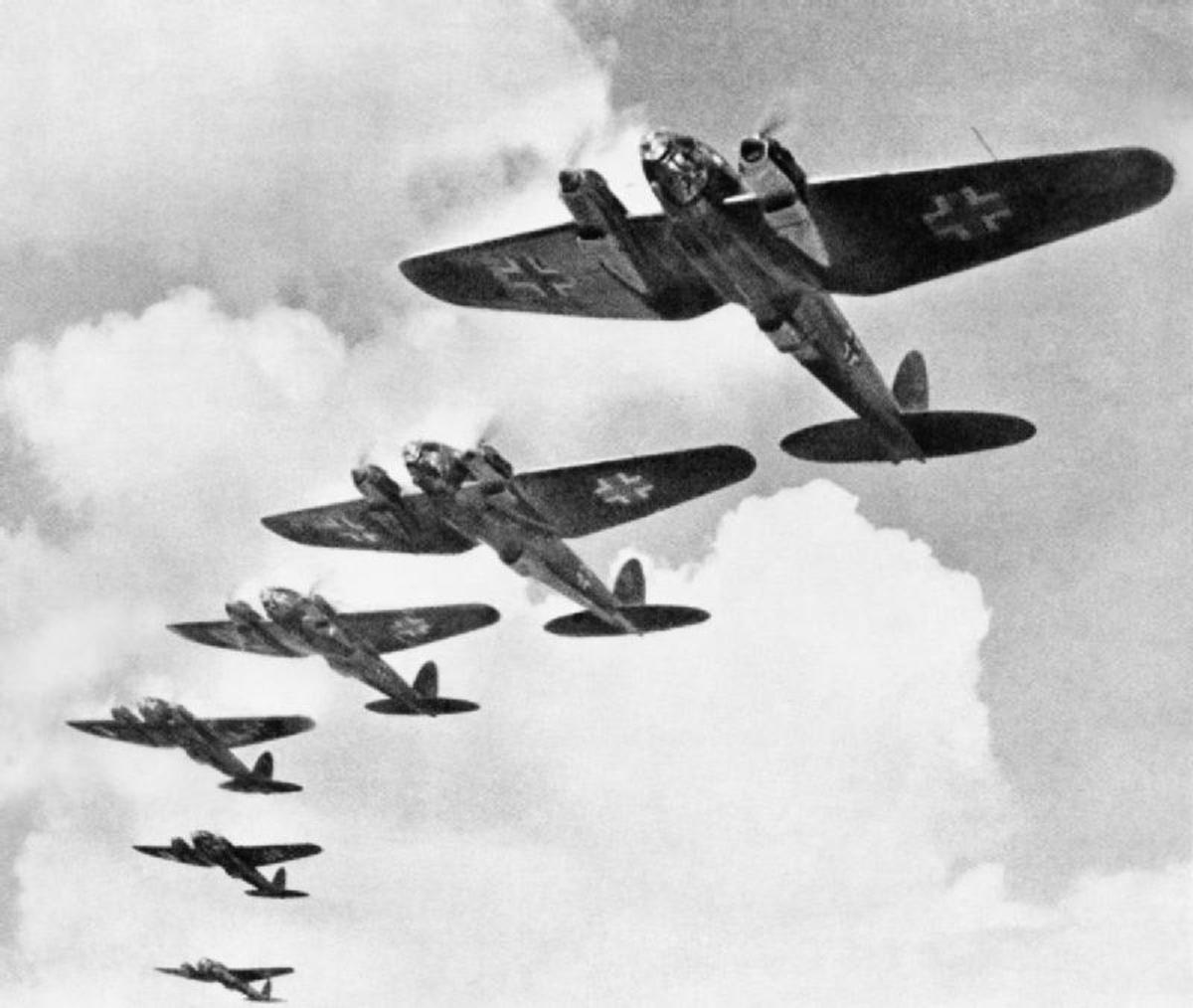 Heinkel He 111s were used to carpet bomb Stalingrad. German air raids ultimately killed 40,000 civilians in Stalingrad.