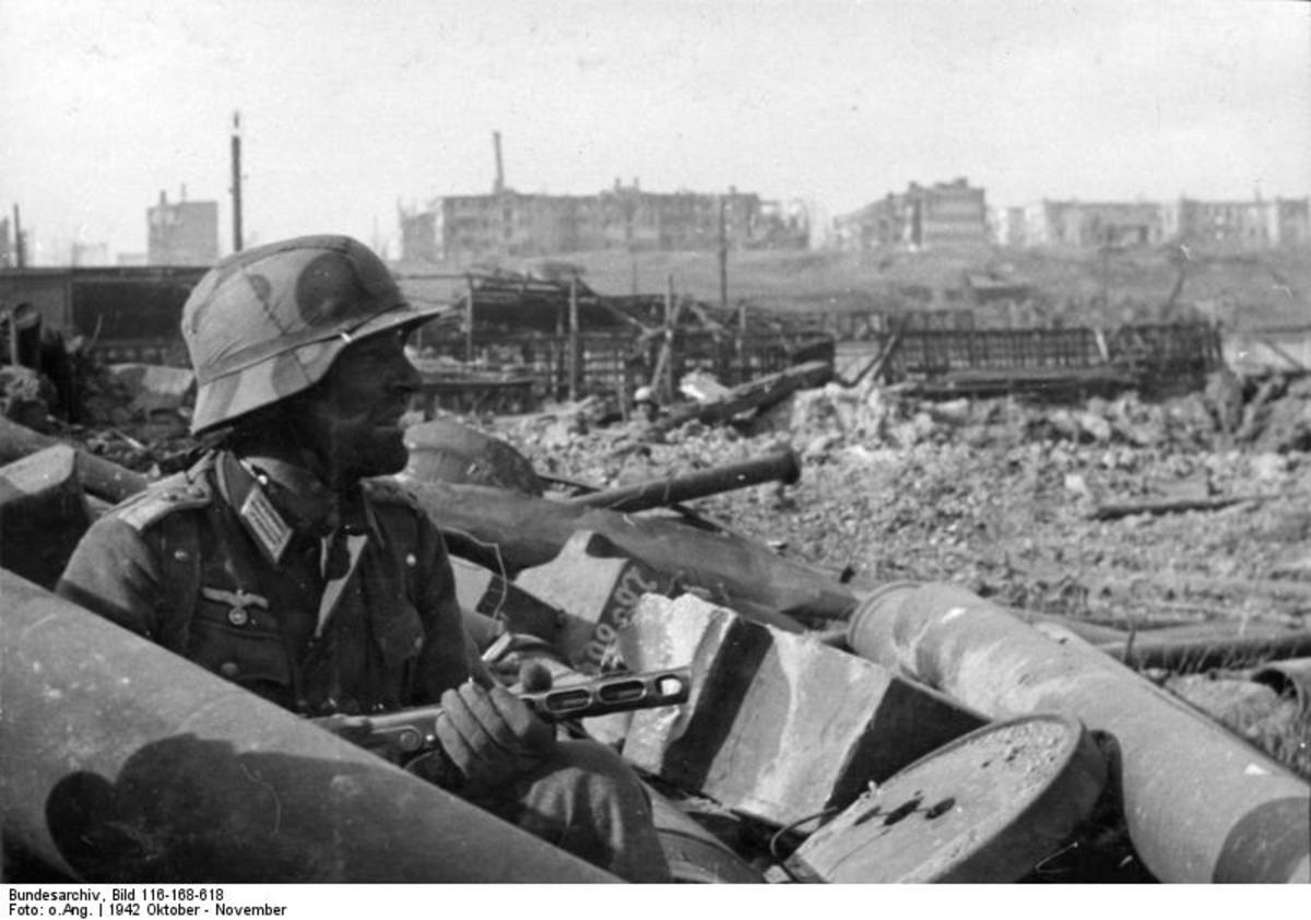 German soldier in Stalingrad September 1942, this German soldier is using a capture Russian sub-machine gun.