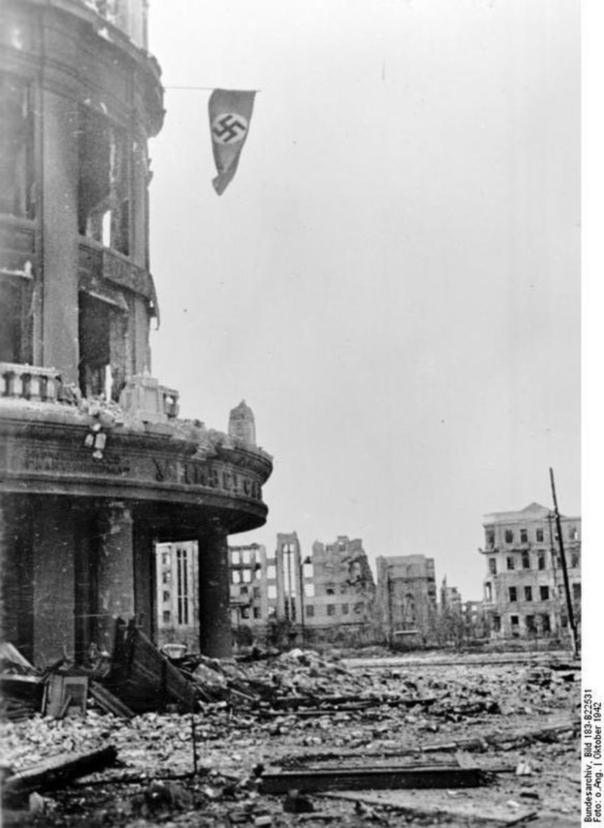 A German flag hanging outside a bombed out building in Stalingrad.