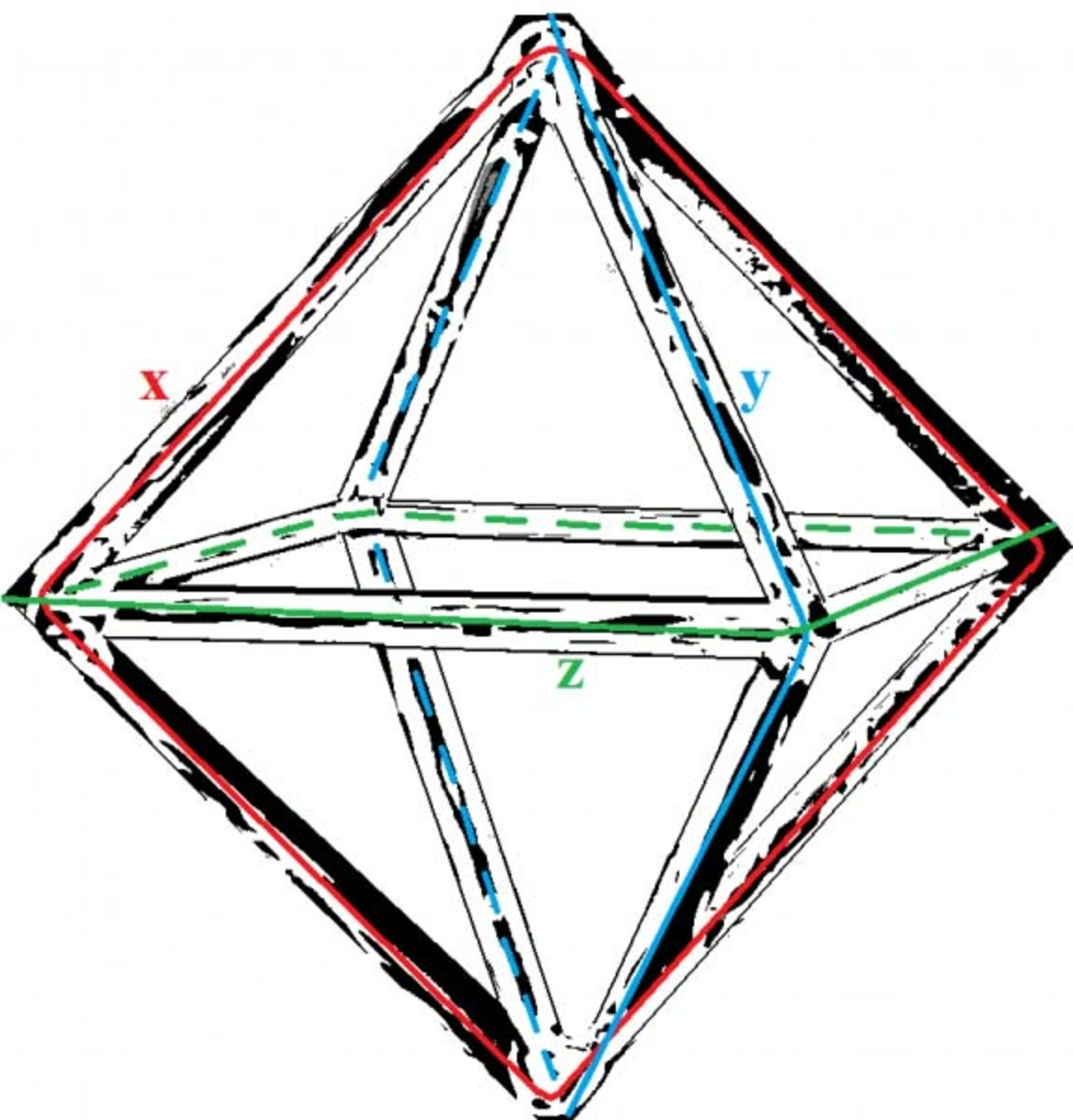 The Delta T Antenna uses the platonic solid shape (building block of the Universe) of a octahedra to achieve it specialized function.