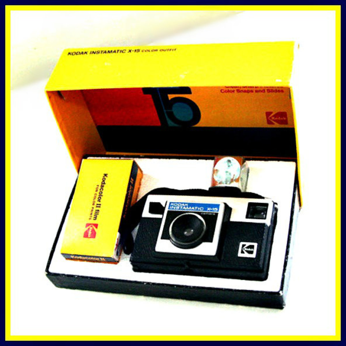 In they year 1970 the priced for this camera with accessories was $21.00, it came in a wonderful back and mustard color box with a roll of Kodak 126 film, instructions, and a flash cube already mounted to the camera.