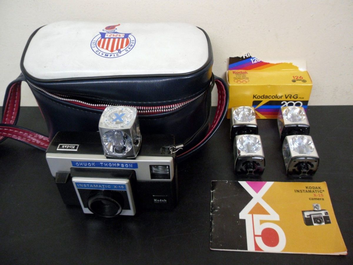 Kodak Instamatic X-15 Camera with a 1972 Olympic Case, and Magic Cube Flashes, and is still works great!
