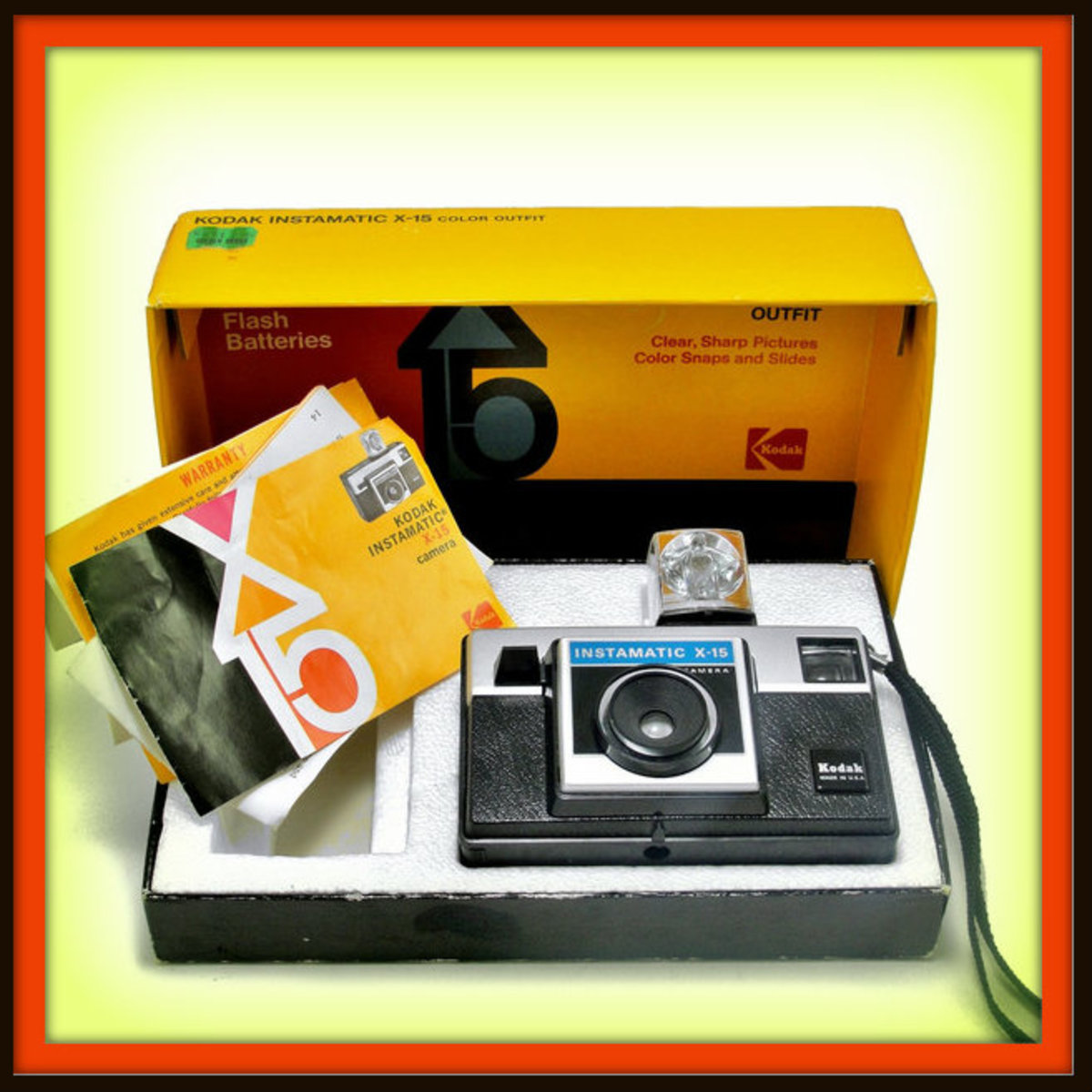 The Kodak Instamatic X-15 Camera requires no batteries, no focusing or other setting. It offers instant, effortless picture taking by sunlight or with the new four bulb, sell-powered Magicube, Type X.