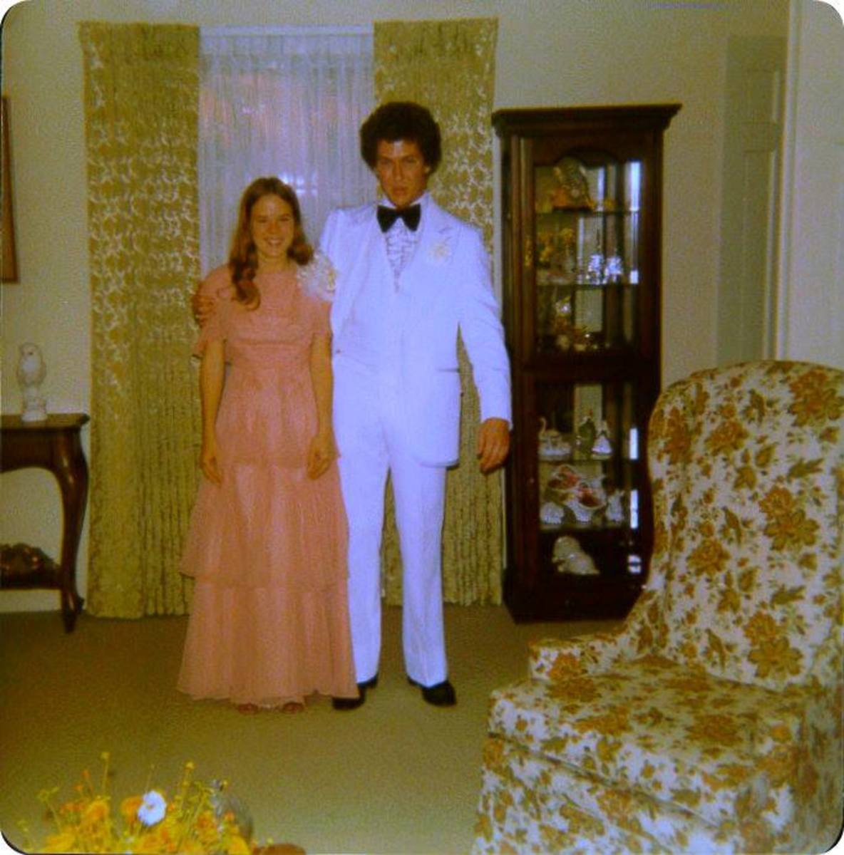 Here is a photo from 1978 of my Senior Prom. Talk about finding a vintage treasure here is Char and Me at my home before we went to her home for more photos