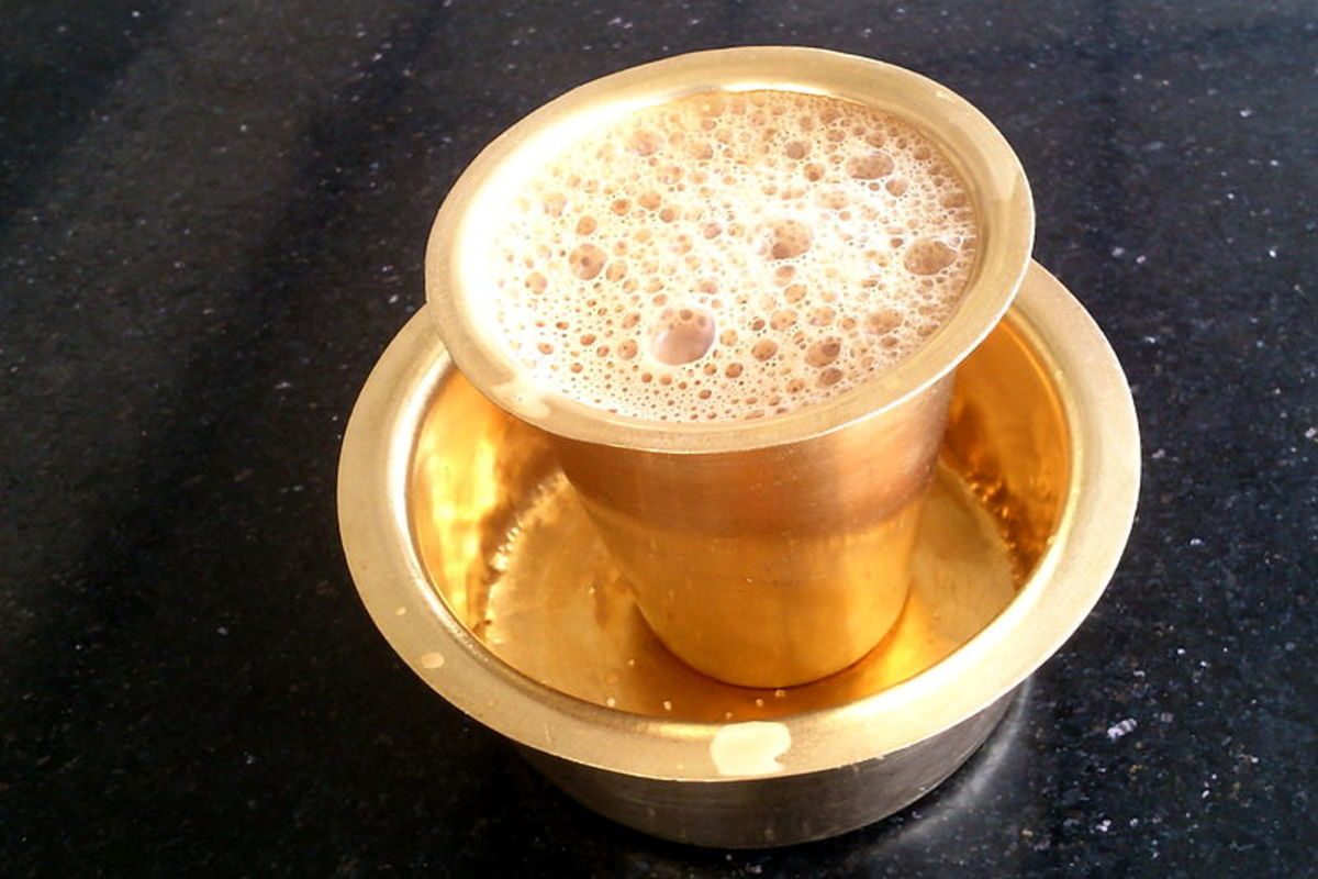Filter Coffee in traditional Glass & Tumbler at Kumbakonam