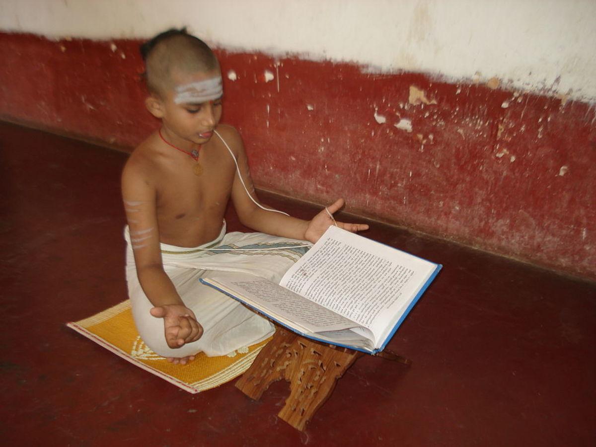A student learning Veda. Location: Nachiyar Kovil, Kumbakonam, Tamilnadu.
