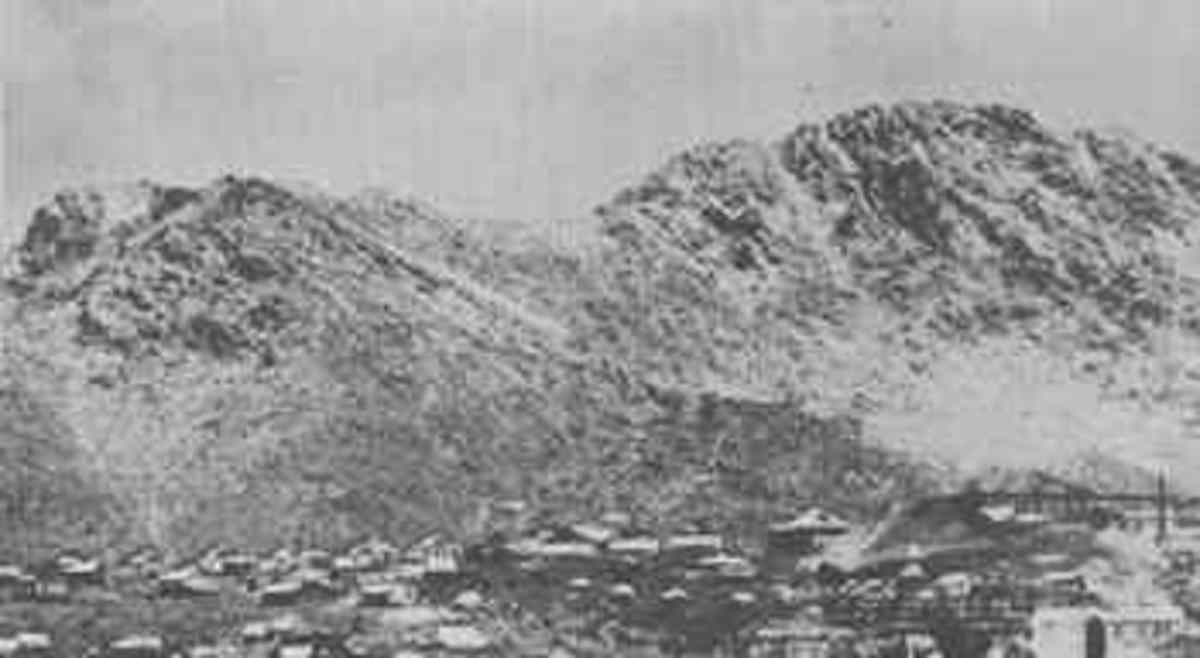 1888 Weaver, Arizona with Rich Hill in the background