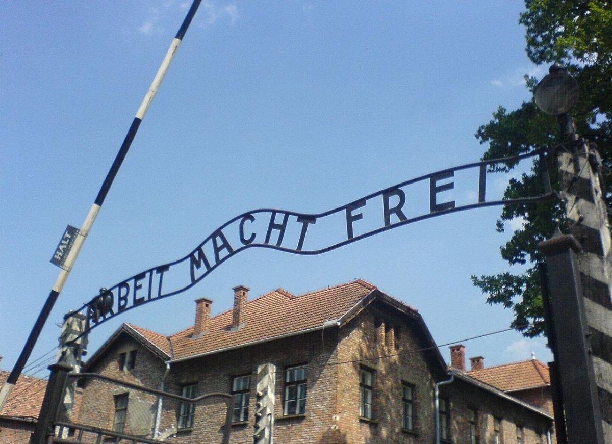 """Front gate of Auschwitz death camp were Mangele worked it would claim over 1 million Jews their lives. The sign states """"work will set you free"""" but it was a cruel lie, if its occupants weren't worked to death they would die in its gas chamber."""