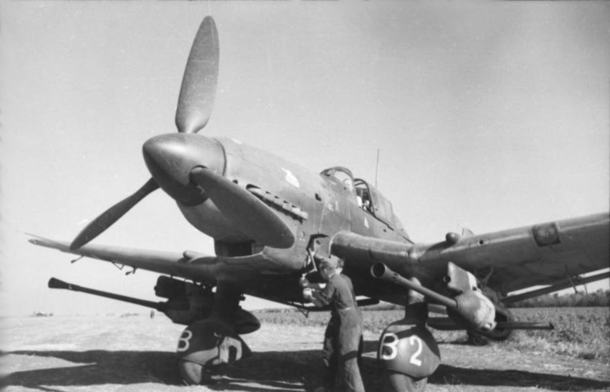 A JU-87G tank buster Stuka with a 37mm cannon under each wing. Rudel would test this new weapon in the Battle for Kursk in the summer of 1943 with great success.