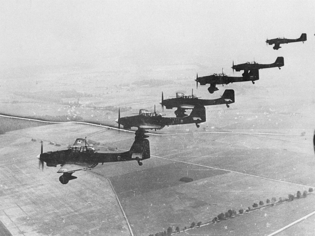 A flight of Stukas over Poland September 1939.