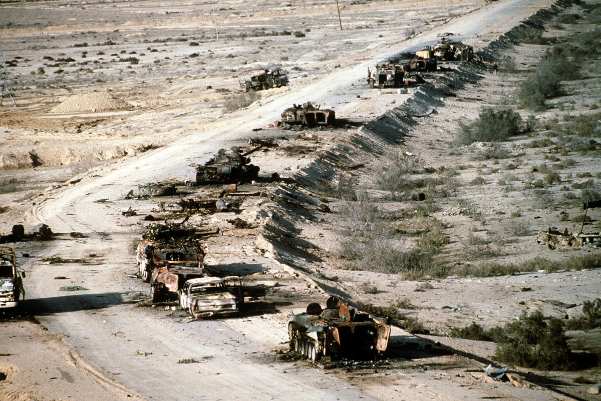 Iraqi tanks on the Highway of Death