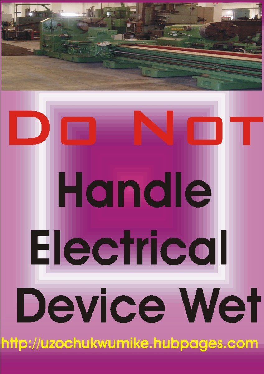 Safety precaution in engineering involving not touching electrical conducting material with wet hand.