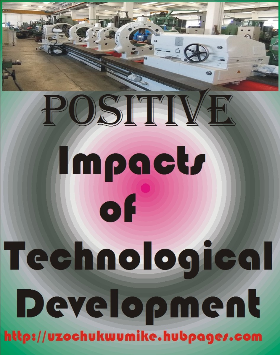 The positive impacts of technological development. The importance of technological development in the society. Used in the picture is lathe machine which is a product of technological development. Lathe machine is a heavy-duty machine.