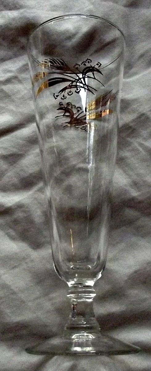 "The pilsner, 8-3/8"" tall  in the Prairie Wheat Lifetime gold Golden accent crystal glasses stemware made by Homer Laughlin"