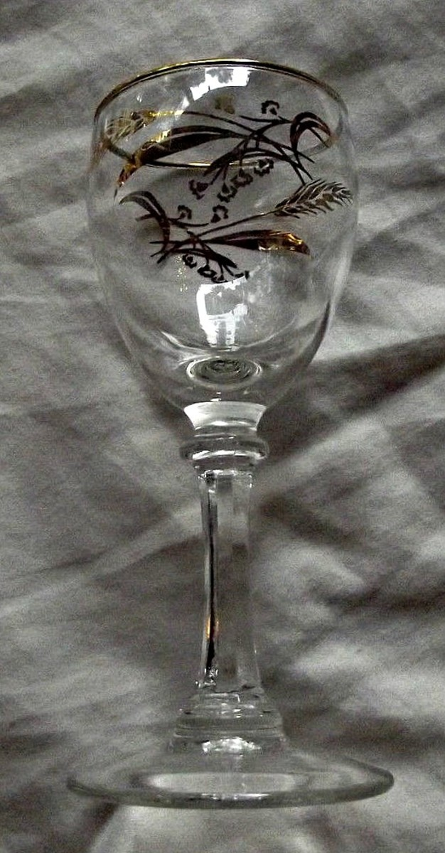 """The wine goblets 5-7.8"""" tall in the Prairie Wheat Lifetime gold Golden accent crystal glasses stemware made by Homer Laughlin"""
