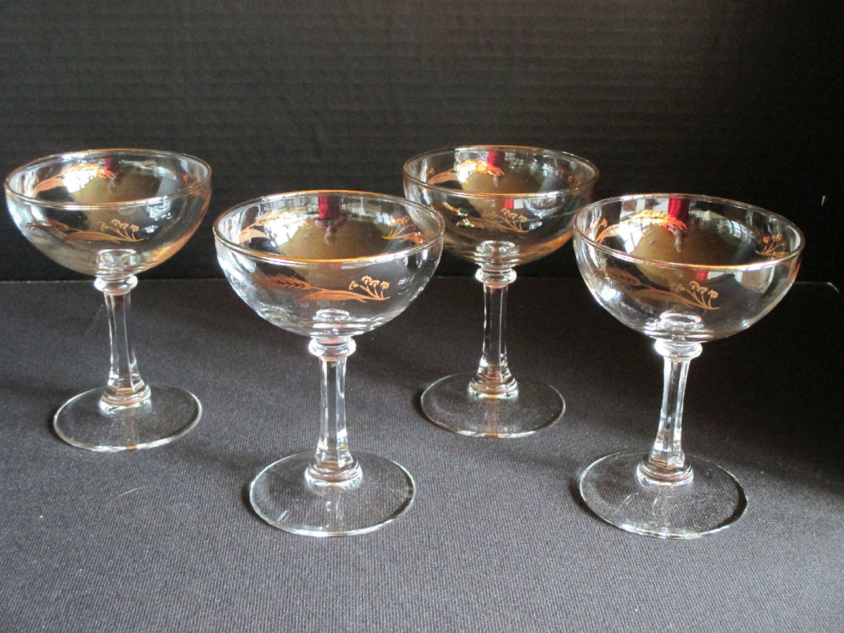 "Four vintage Lifetime Prairie Gold Wheat sherbet champagne goblets stemware glasses. These goblets are 4-3/4"" tall x 3-1/2"" diameters at the rim and they each can hold four ounces."