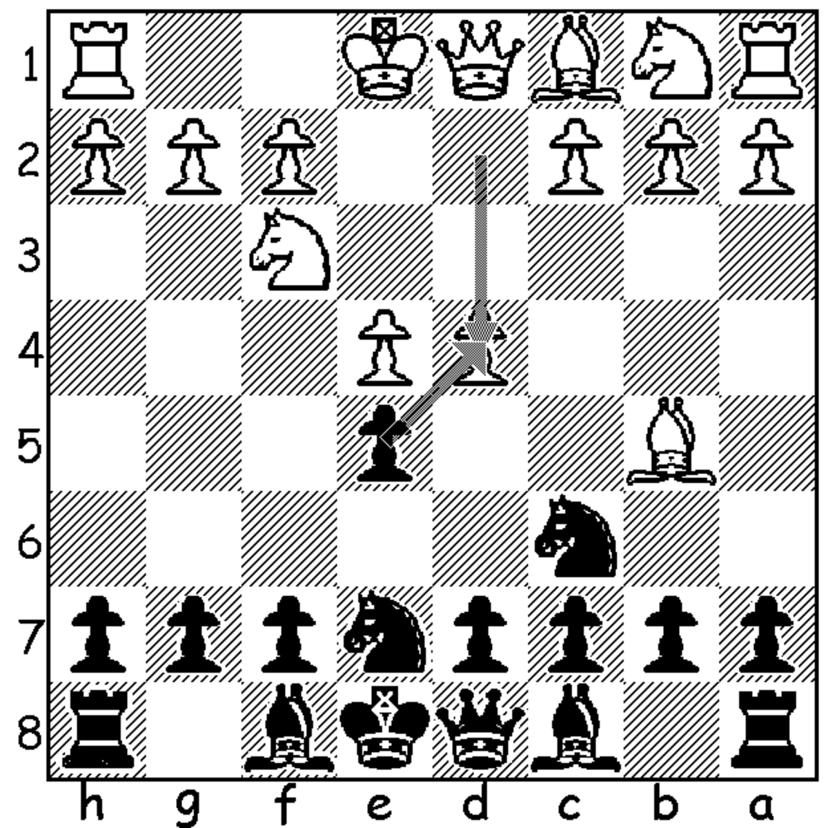This image shows the position following 4.d4. It also shows black's main response, 4...exd4. Keep in mind that black also has the option to play 4...Nxd4, but this tends to score relatively poorly compared to 4...exd4.