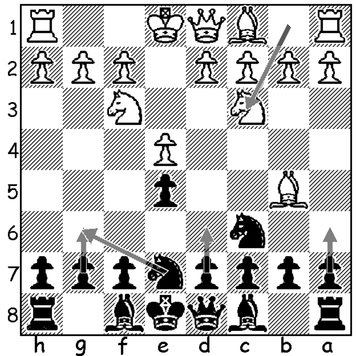 This image shows the four reasonable fourth move options for black following 4.Nc3. The only one of these that I am discussing and recommending is 4...Ng6, though they are all very playable.
