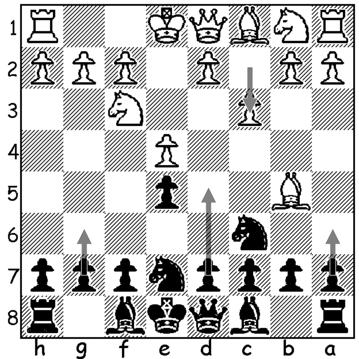 This image shows black's three best fourth move options following 4.c3. They are, in order of my preference, 4...a6, 4...d5 and 4...g6.