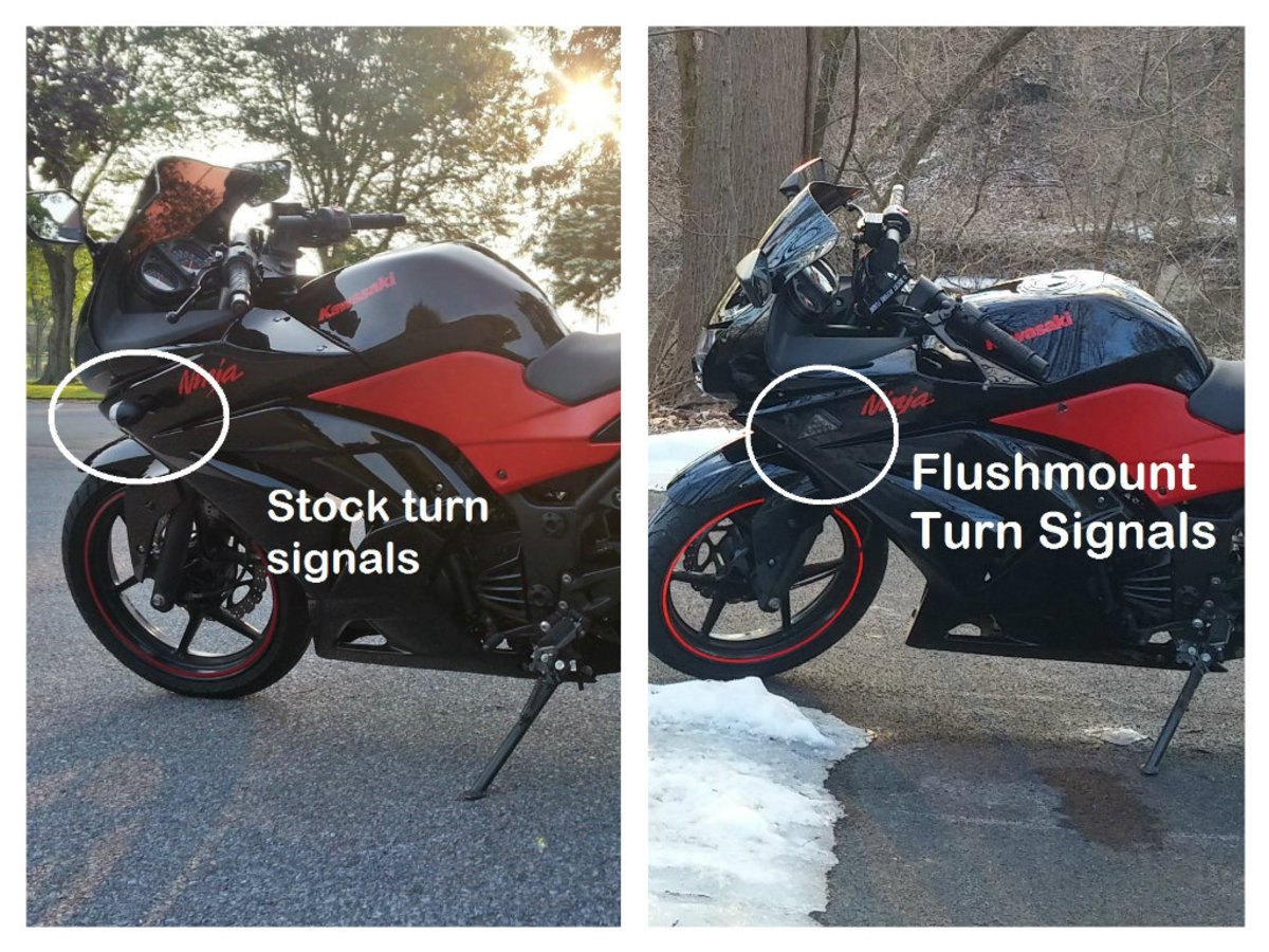 Flushmount versus stock turn signals on a motorcycle