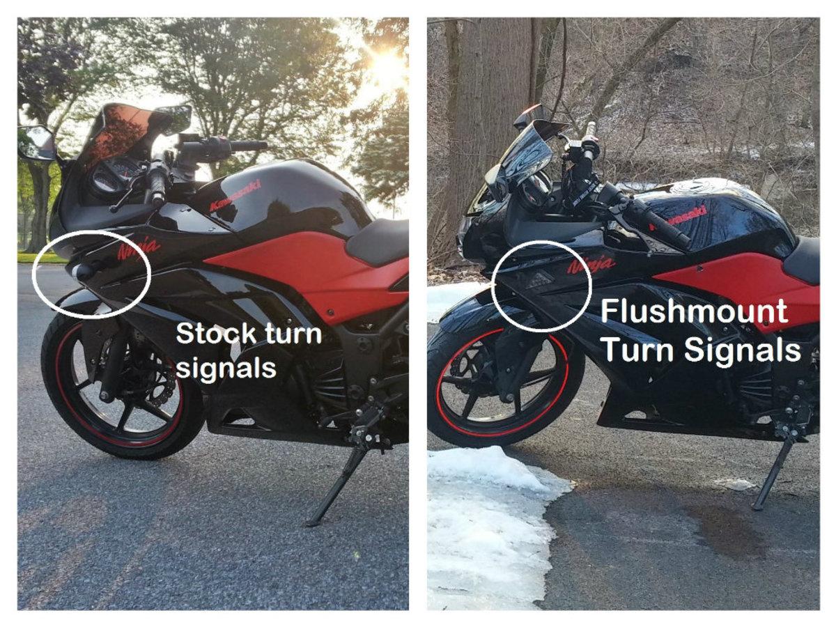 摩托车上的冲装式转向灯和普通转向灯