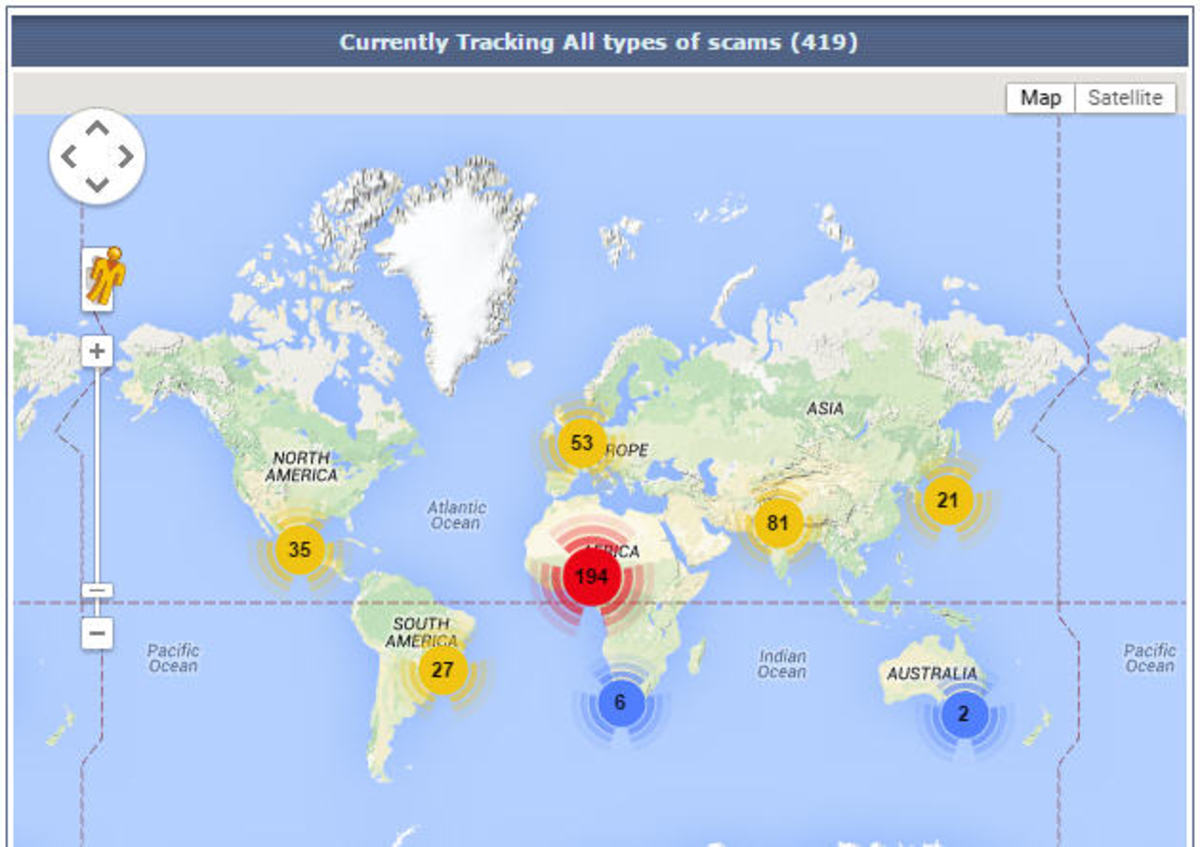This shows the number scams currently around the globe. The red indicates where most are from!