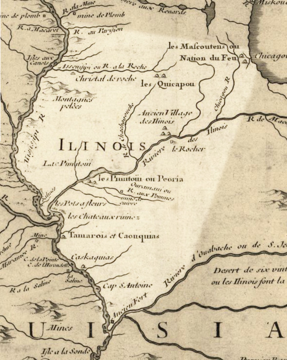Map of Illinois about 1718