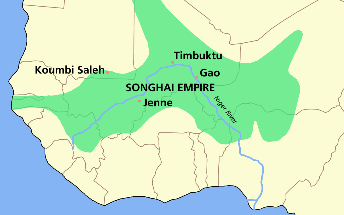 Map of the Songhai Empire at its zenith.