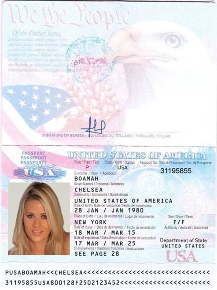 This was her renewed US Passport- Fake. Note that the initials above the photo are not CB