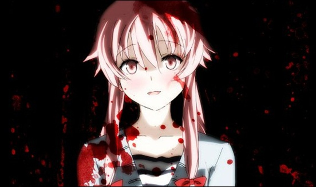Yuno from 'Future Diary' is portrayed as extremely psychotic.