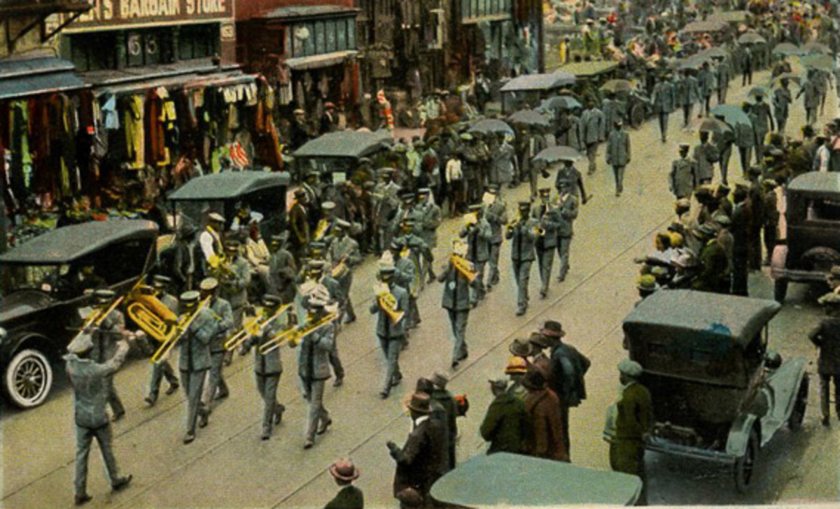 Letter Carriers Band N.A.L.C. Branch No. 27.  Armistice Parade. November 24, 1924.  Memphis, TN on historic Beale Street