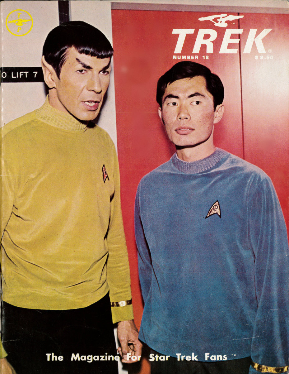 Trek, #12 the Magazine for Star Trek Fans with Mr. Spock Leonard, Nimoy  and Sulu, George Takei on the cover.