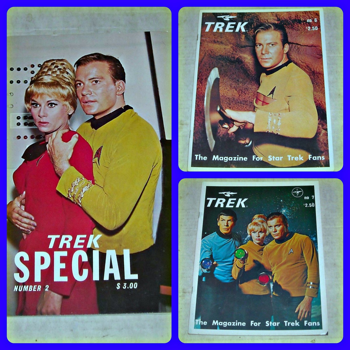 Here are three great issues ... TREK The MAGAZINE for STAR TREK FANS SPECIAL #2, published in November 1978, TREK The MAGAZINE for STAR TREK FANS # 6, published in November 1976, and TREK The MAGAZINE for STAR TREK FANS # 7, published in Feb 1977.
