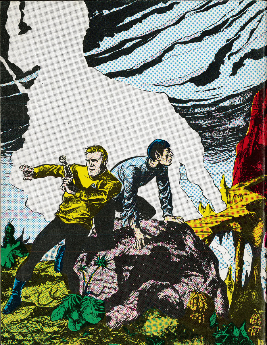 The back cover of Trek # 7, The Magazine for Star Trek Fans has remarkable artwork with attention to details.