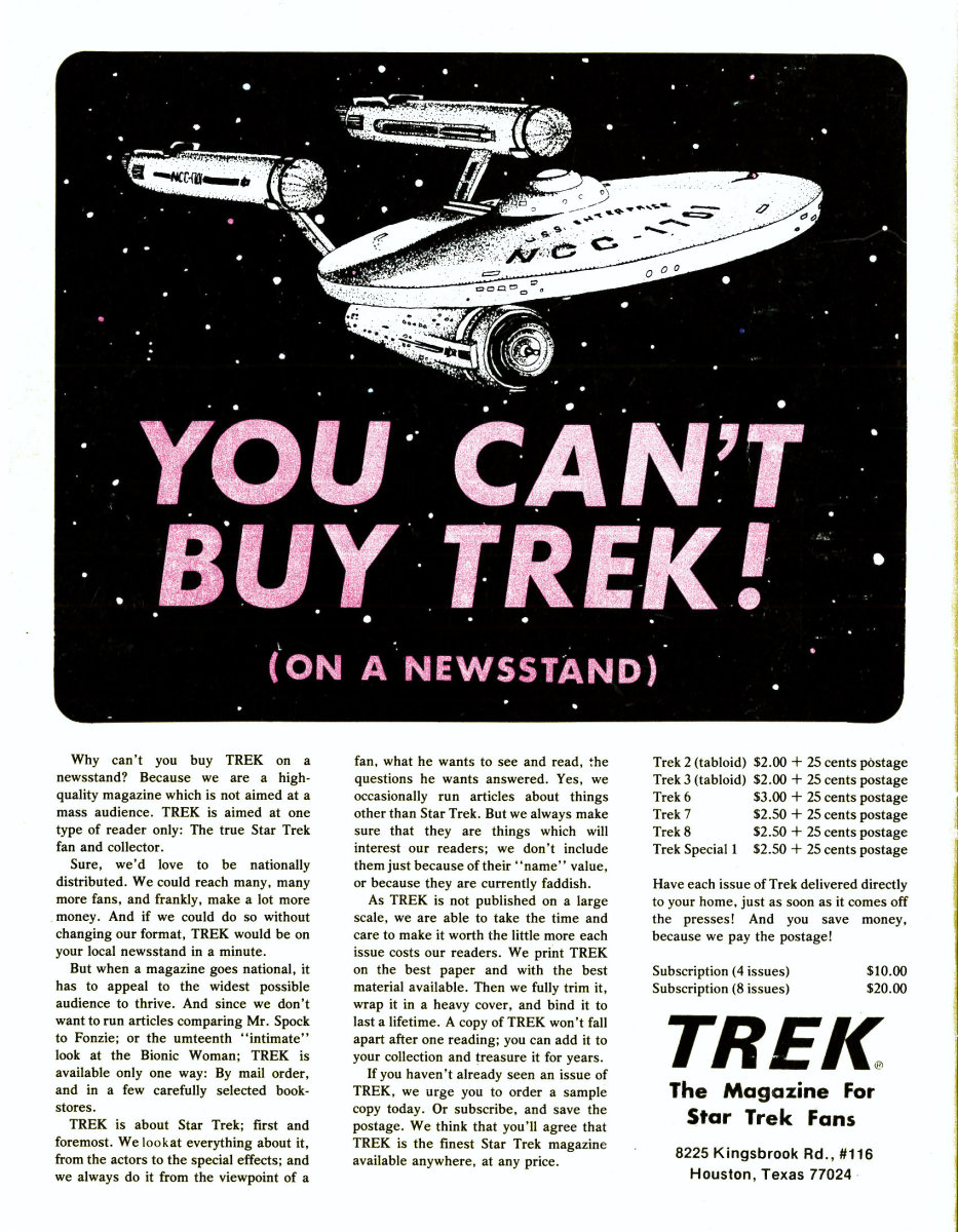 The Back Cover of Trek #8 The Magazine for Star Trek Fans telling you that you can not buy Trek on a newsstand.