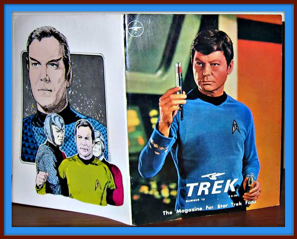 TREK #13 The Magazine for Star Trek Fans with a great color photo of Dr. McCoy on the cover , and wonderful artwork on the back of Captain Kirk.