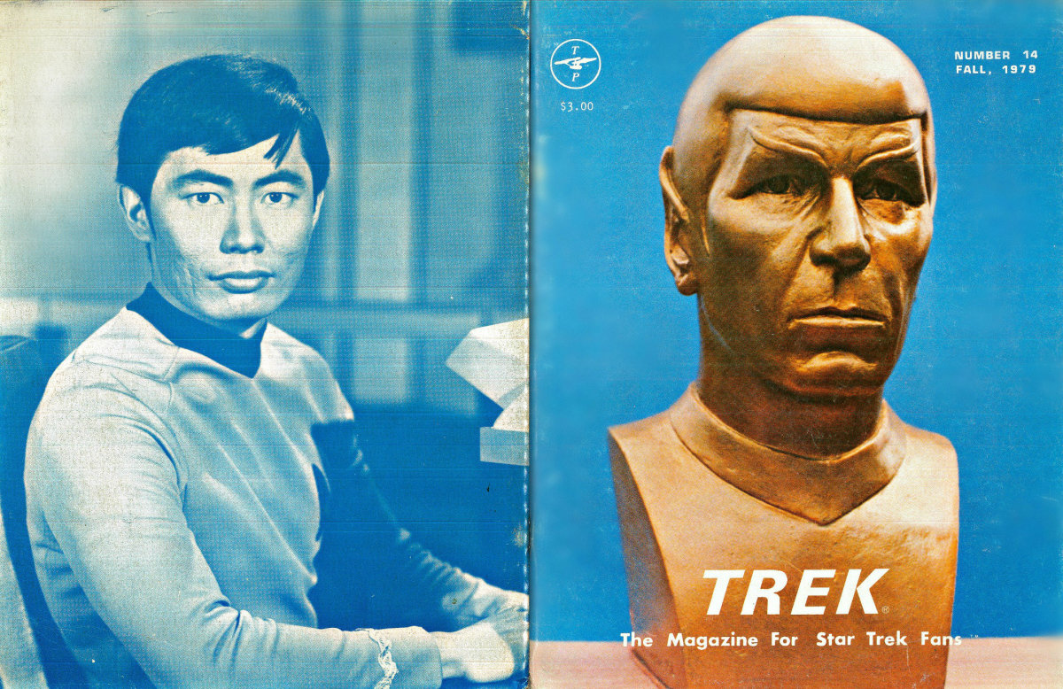 It has a bust of Mr. Spock in gold on the front and Sulu at his post on the back of the magazine