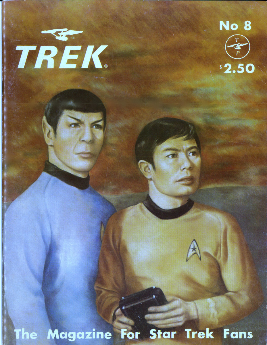 Trek # 8 The Magazine for Star Trek Fans with a beautiful painting on the cover by a loyal Fan.