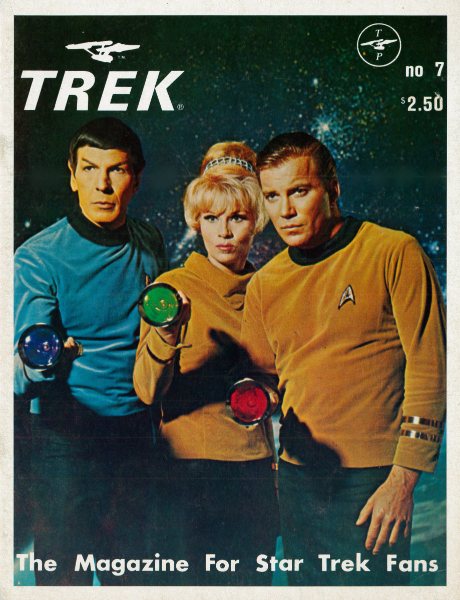 Trek # 7, The Magazine for Star Trek Fans has 40 amazing pages that are as usual staple-bound and well made. Number seven was published in February, 1977, and has a great interview with Grace Lee Whitney (Yeoman Rand).