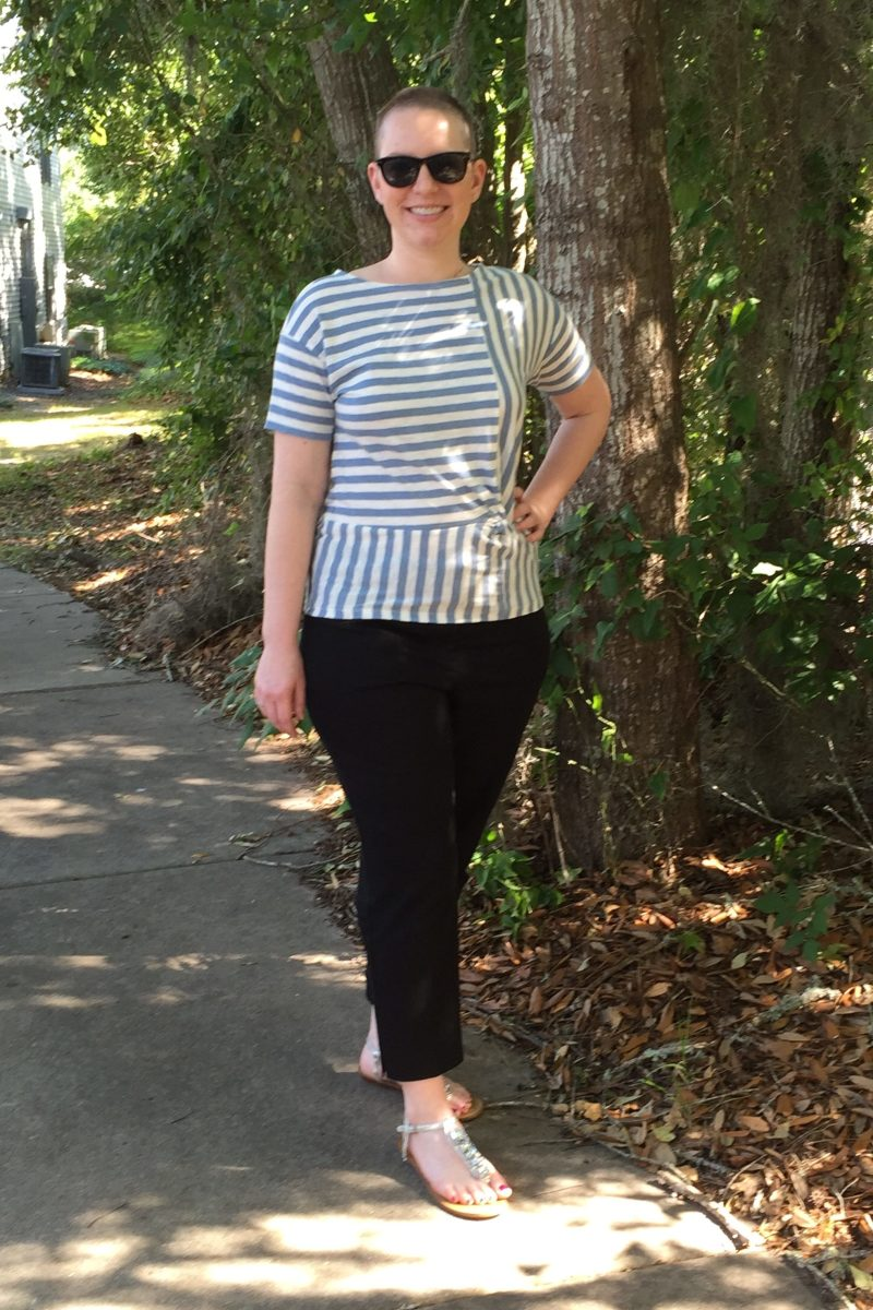 The horizontal stripes and asymmetrical pattern in this top lead your eye to the waist and not the bust. .