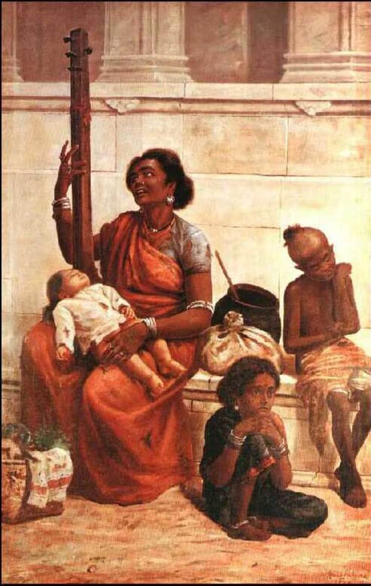 A family of poor Indian gypsies painted by Raja Ravi Varma. The original gypsies came from the Punjab region of India, then spread to parts of Europe before immigrating to America.